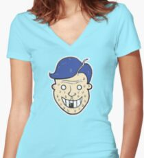 Broken Sweet Tooth Cartoon Character Head Fitted V-Neck T-Shirt