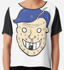 Broken Sweet Tooth Cartoon Character Head Chiffon Top