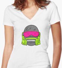 80s Neon Wrestler Cartoon Head Hulk Macho Fitted V-Neck T-Shirt