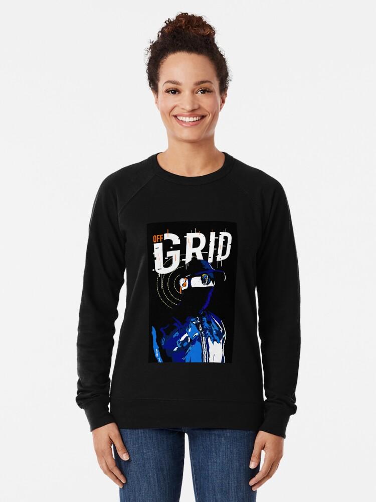 Alternate view of Hacker Sci-Fi Cyberpunk Illustration Off_Grid  Lightweight Sweatshirt