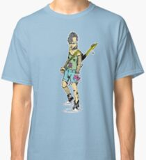 Punk Rock Girl Guitar Comic Book Style Character with a Mohawk Classic T-Shirt