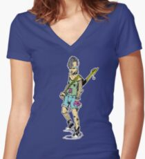 Punk Rock Girl Guitar Comic Book Style Character with a Mohawk Fitted V-Neck T-Shirt