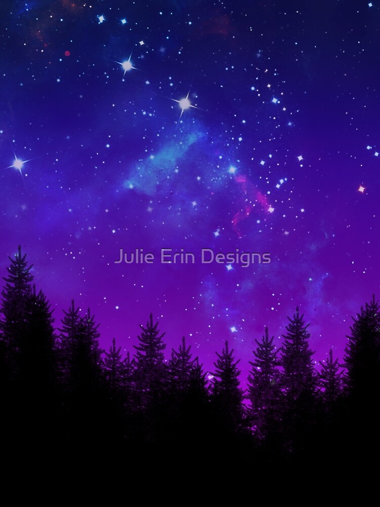 Galaxy Over the Forest at Night by julieerindesign
