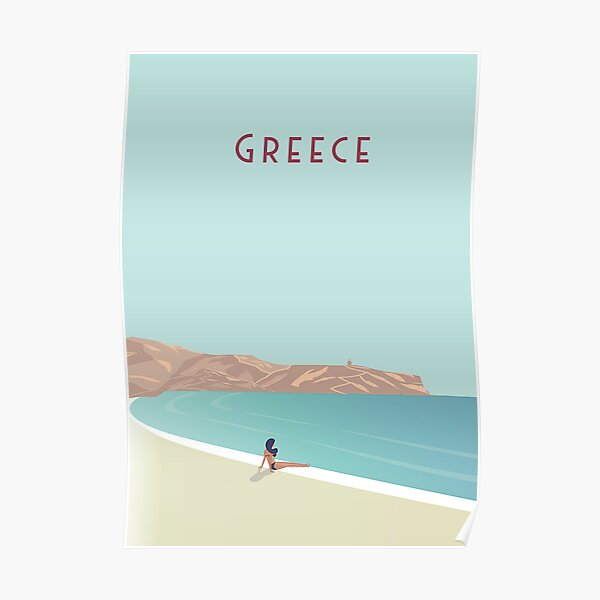 Greece beach Travel Poster  Poster
