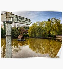 The Duckpond in the village of Crawley, near Winchester Poster