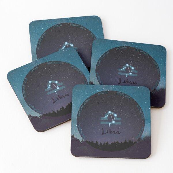 Libra Zodiac Sign Character Traits Coasters (Set of 4)