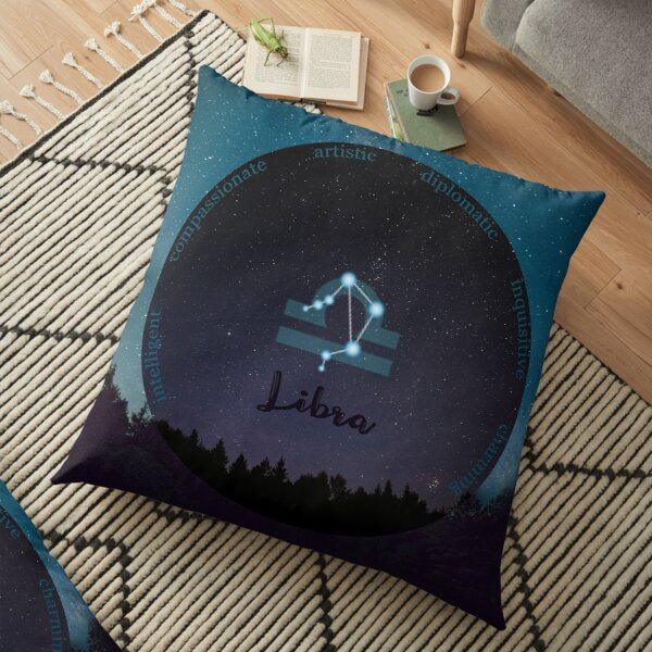 Libra Zodiac Sign Character Traits Floor Pillow