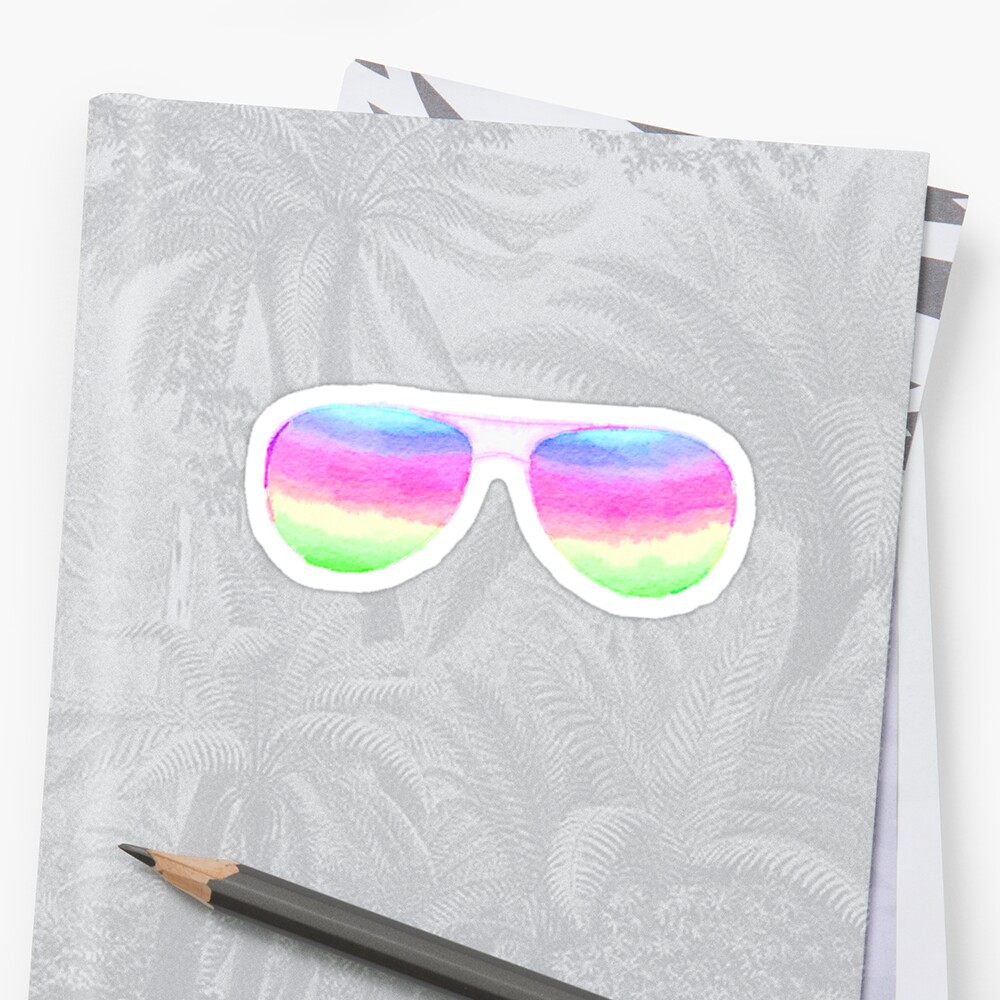 Rainbow Aviator Sunglasses in Watercolor - Trendy/Summer/Hipster Style by Vrai Chic