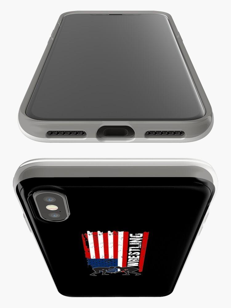 Vista alternativa de Funda y vinilo para iPhone Camiseta de lucha de Amercian, camisa de lucha de la bandera de los EEUU, camiseta de lucha patriótica