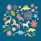 Dinosaurs + Unicorns by latheandquill