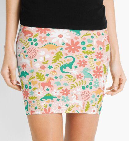 Dinosaurs + Unicorns on Pink Mini Skirt