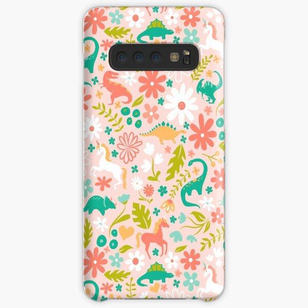 Dinosaurs + Unicorns on Pink Samsung Galaxy Snap Case