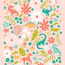 Dinosaurs + Unicorns on Pink by latheandquill