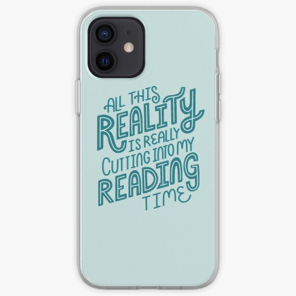 Reality Vs. Reading Book Nerd Quote Lettering iPhone Soft Case