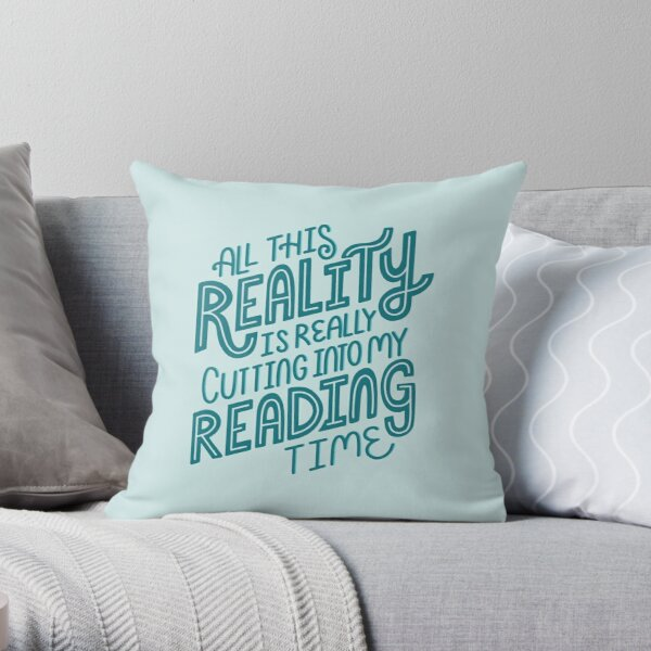 Reality Vs. Reading Book Nerd Quote Lettering Throw Pillow