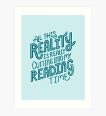 Reality Vs. Reading Book Nerd Quote Lettering Art Print