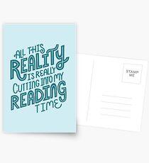 La réalité contre. Lecture de livre Nerd Quote Lettering Cartes postales