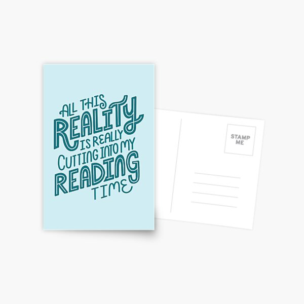 Reality Vs. Reading Book Nerd Quote Lettering Postcard