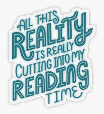 Pegatina transparente Realidad Vs. Libro de lectura Nerd cita letras