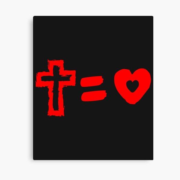 Cross Equals Love Heart Christian Easter Men Women T Shirt Canvas Print