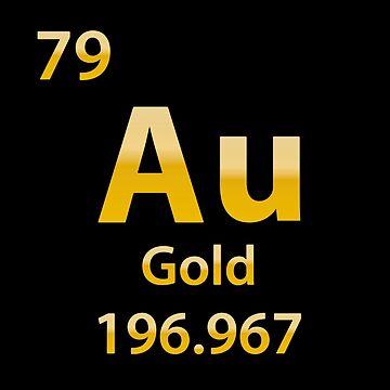 Gold Au Matte chemical element by DeLaFont