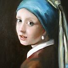 """""""Girl with the Pearl Ear Ring"""" After Vermeer   by Cathy Amendola"""
