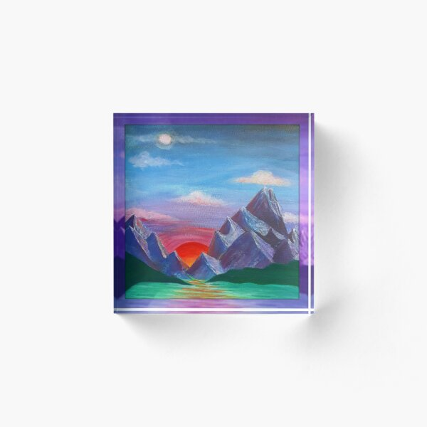 Sunset on Planet 7 Acrylic Block
