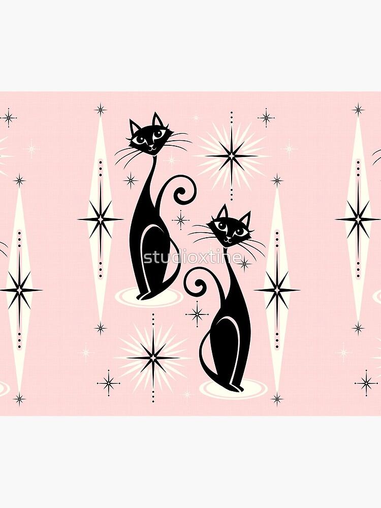 Mid Century Meow on Warm Pink by studioxtine