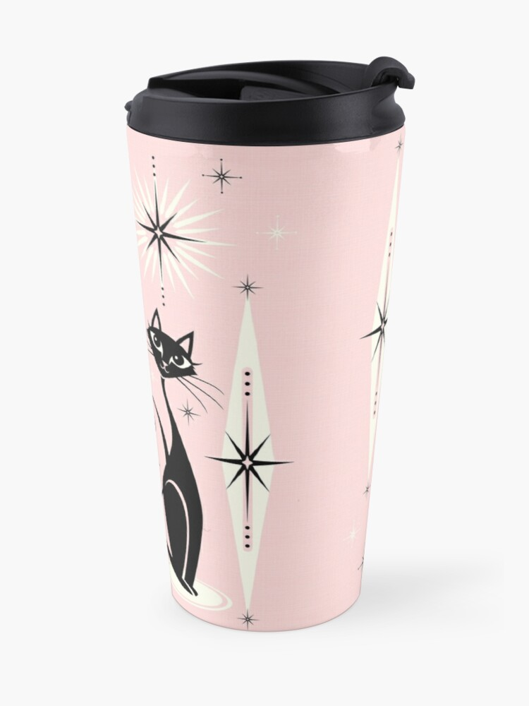 Alternate view of Mid Century Meow on Warm Pink Travel Mug