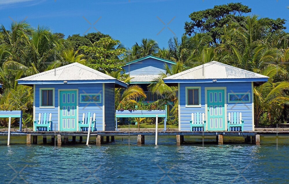 Two blue cabins over water with coconut trees by Dam - www.seaphotoart.com
