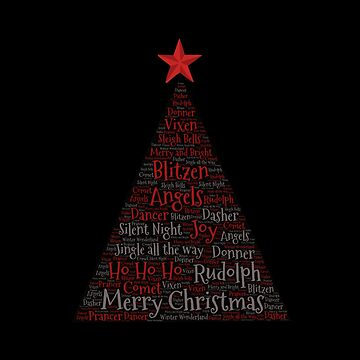 Christmas Tree Word Art with Red Star by Swigalicious
