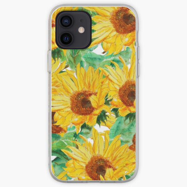 bright yellow sunflower watercolor  pattern iPhone Soft Case
