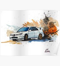 Subaru STi Watercolor Painting Print Poster