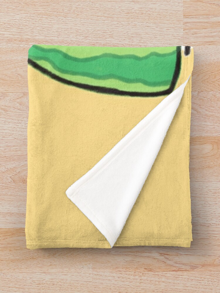 Alternate view of  Shy Watermelon Cat - White Version  Throw Blanket