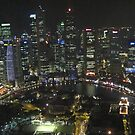 Singapore cityscape at night by Nupur Nag