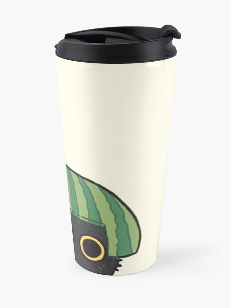 Alternate view of Shy Watermelon Cat - Black Version  Travel Mug