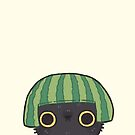 Shy Watermelon Cat - Black Version  by Bumcchi