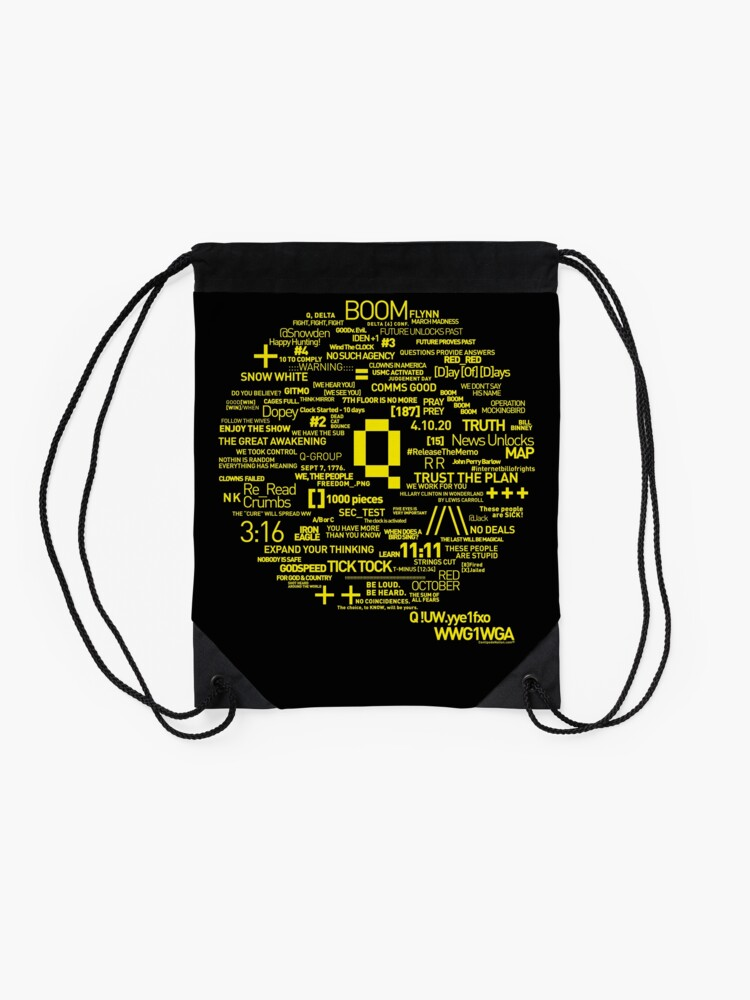 Alternate view of Qanon - Great Awakening - QResearch - OFFICIAL Cryptograph V2 Drawstring Bag