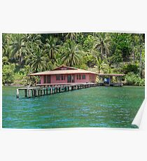 Caribbean house with dock over the water Poster