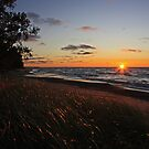 Sun setting on Lake Superior by Megan Noble