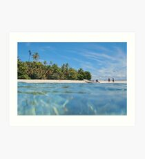 Caribbean island with boat on the beach Art Print
