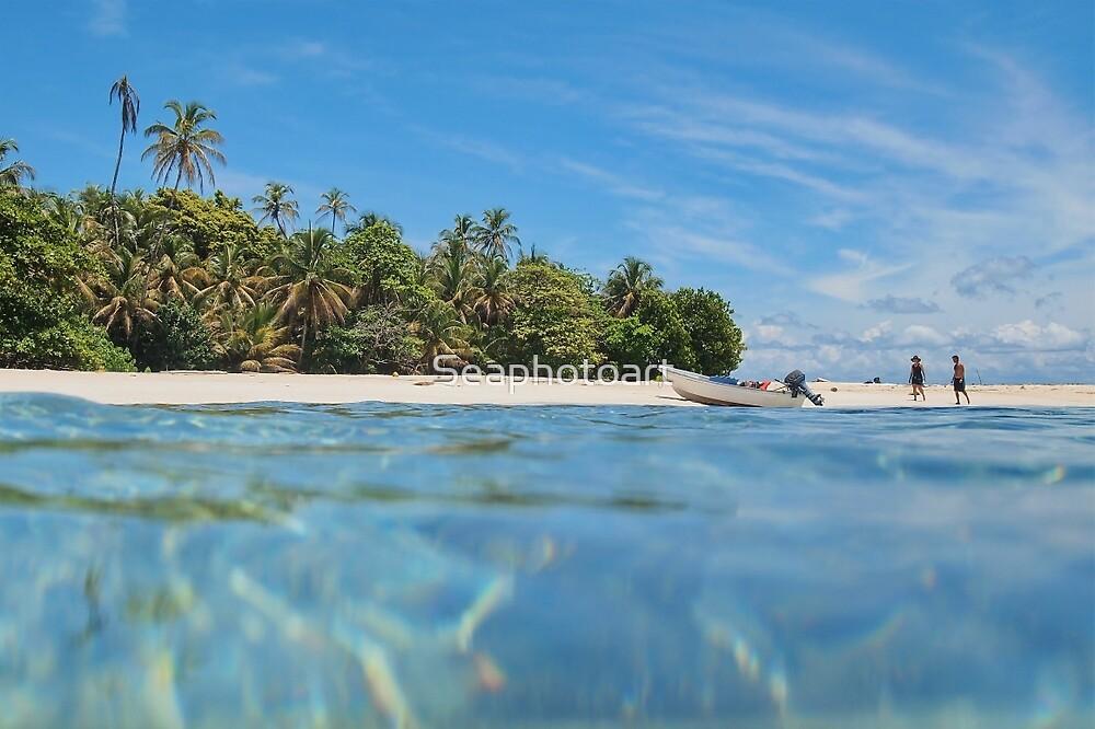 Caribbean island with boat on the beach by Dam - www.seaphotoart.com
