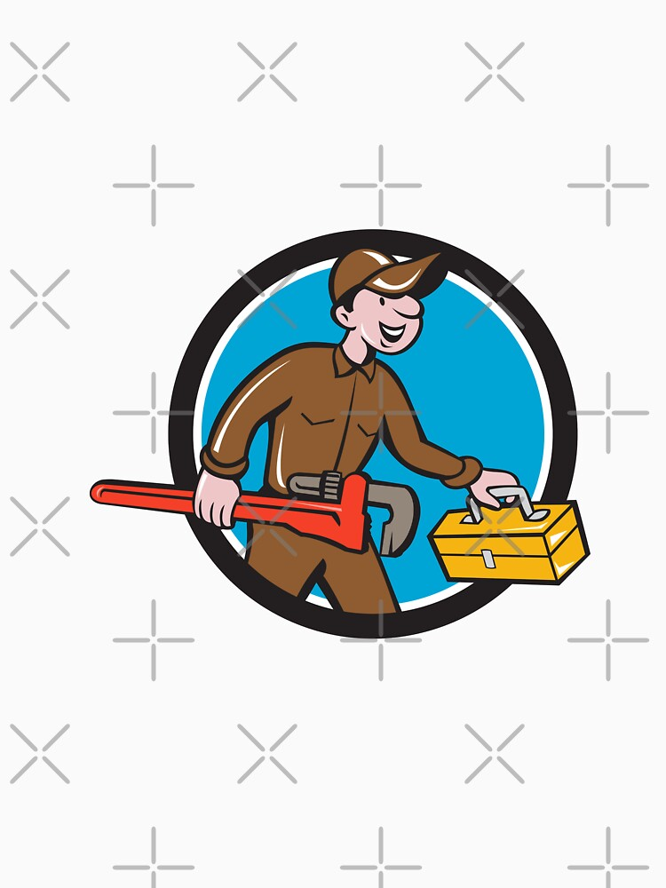 Plumber Carrying Monkey Wrench Toolbox Circle by patrimonio