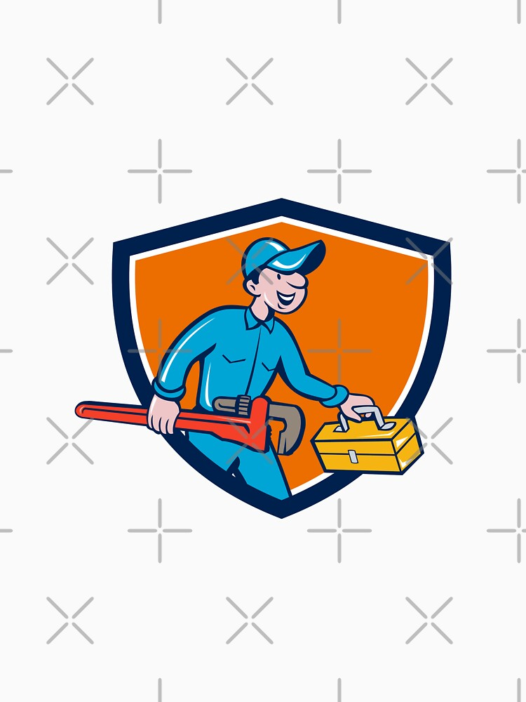 Plumber Carrying Monkey Wrench Toolbox Shield by patrimonio