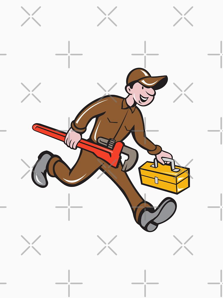 Plumber Carrying Monkey Wrench Toolbox Cartoon by patrimonio