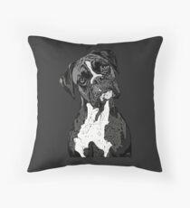 Black and White Boxer Art Throw Pillow