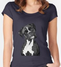 Black and White Boxer Art Women's Fitted Scoop T-Shirt