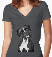 Black and White Boxer Art Women's Fitted V-Neck T-Shirt