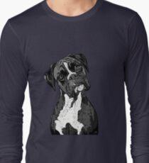 Black and White Boxer Art Long Sleeve T-Shirt