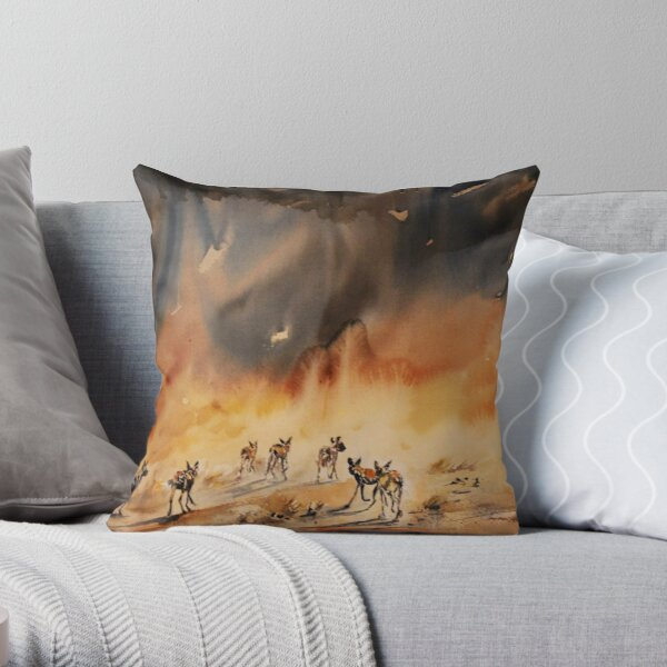 Painted Hunting Dogs Throw Pillow